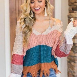 Pink Lilly Vneck Sweater Striped Colorblock Frayed